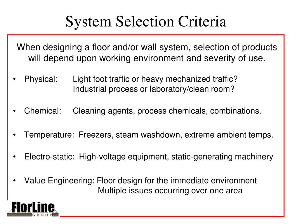 System Selection Criteria