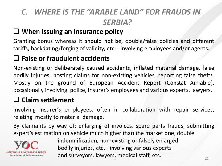 "WHERE IS THE ""ARABLE LAND"" FOR FRAUDS IN SERBIA?"