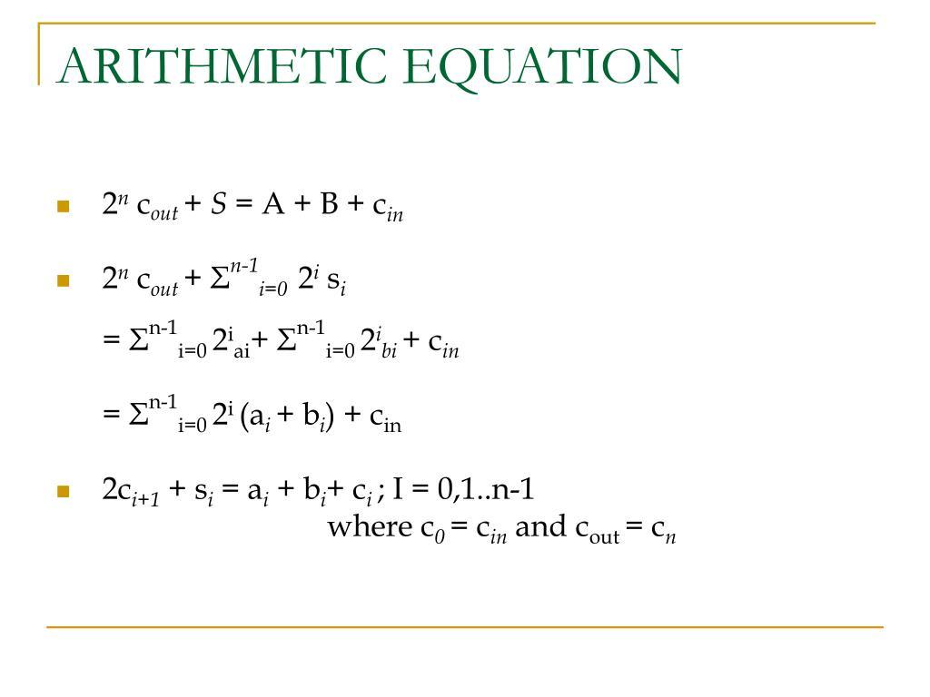 ARITHMETIC EQUATION