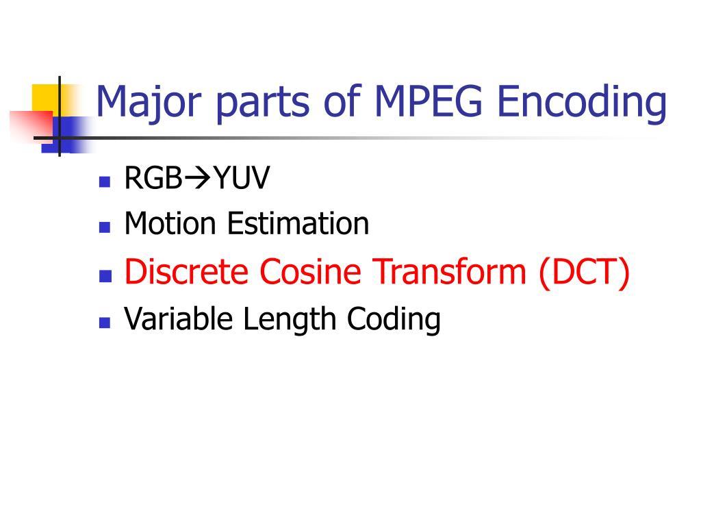 Major parts of MPEG Encoding