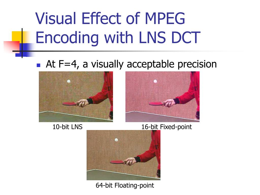 Visual Effect of MPEG Encoding with LNS DCT