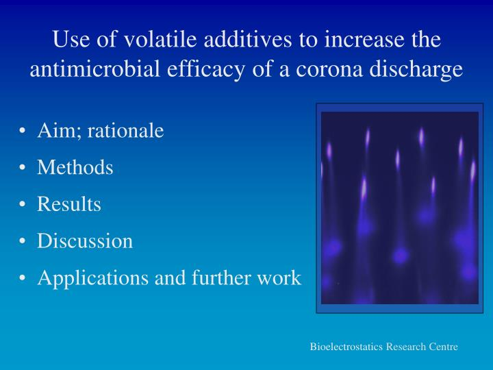 Use of volatile additives to increase the antimicrobial efficacy of a corona discharge1