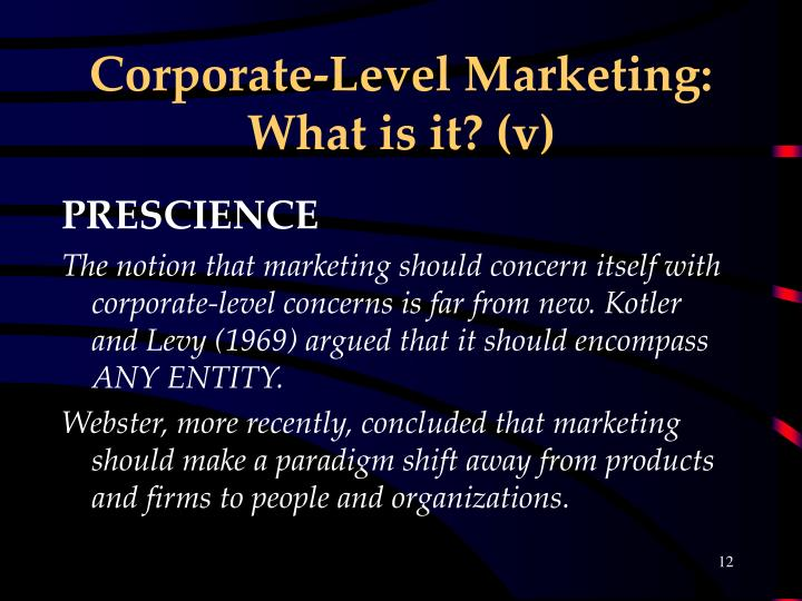 Corporate-Level Marketing: What is it? (v)