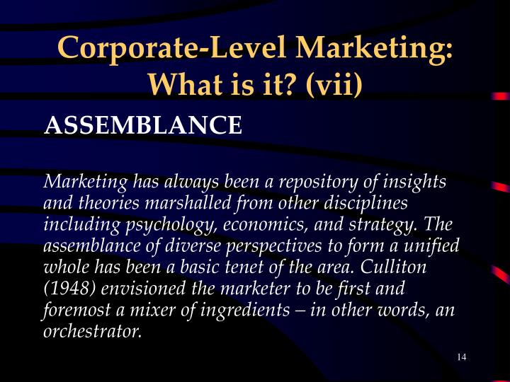 Corporate-Level Marketing: What is it? (vii)