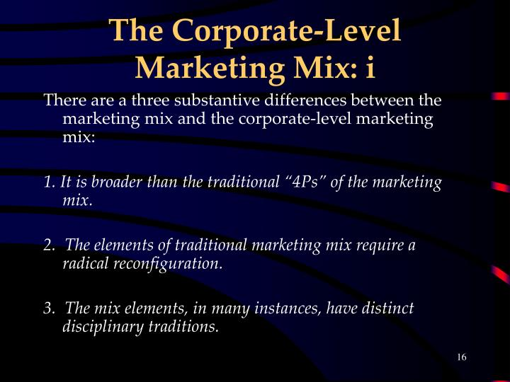 The Corporate-Level Marketing Mix: i