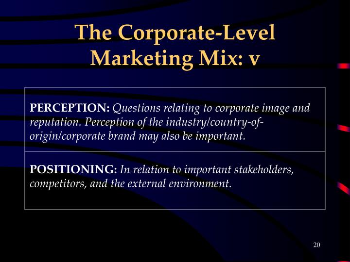 The Corporate-Level Marketing Mix: v