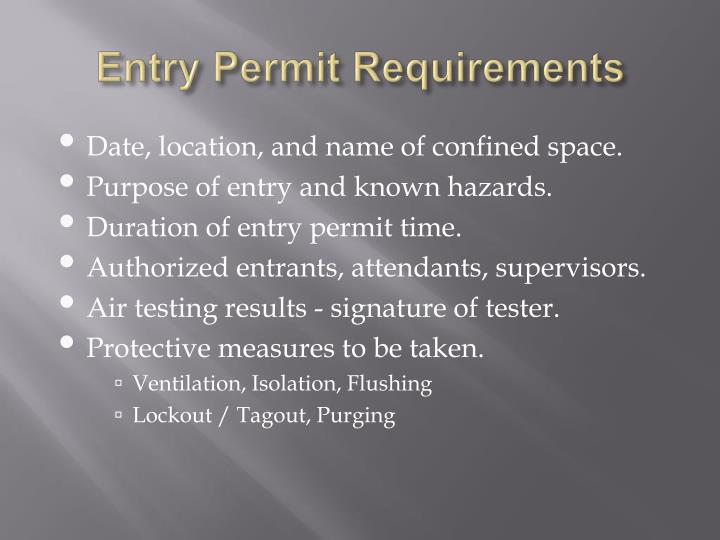 Entry Permit Requirements