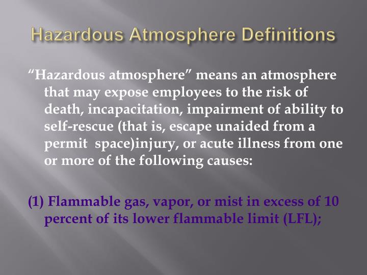 Hazardous Atmosphere Definitions