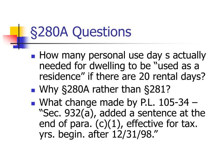 §280A Questions