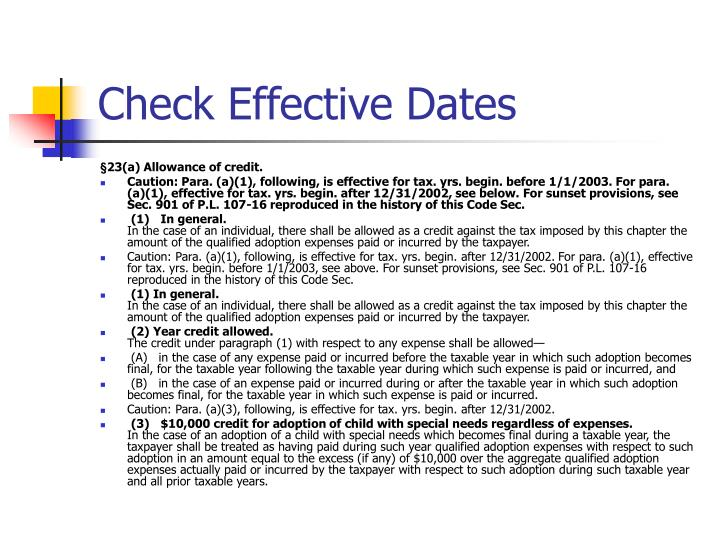 Check Effective Dates