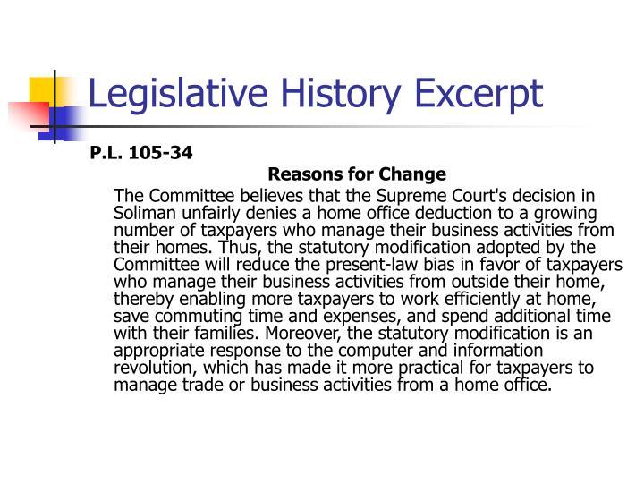 Legislative History Excerpt