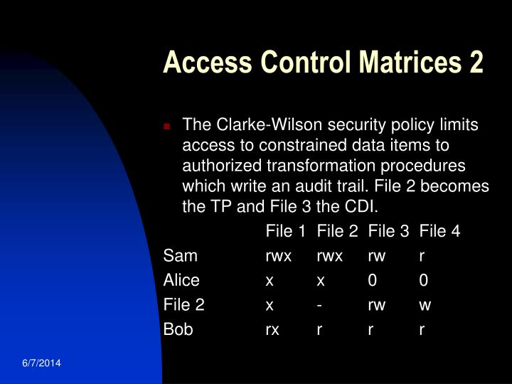 Access Control Matrices 2