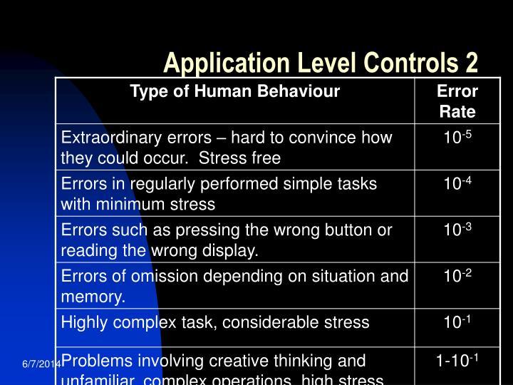 Application Level Controls 2