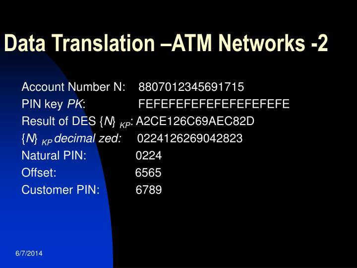 Data Translation –ATM Networks -2