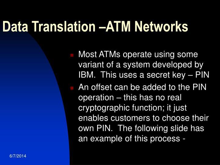 Data Translation –ATM Networks