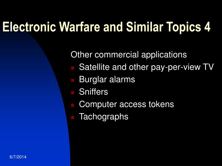 Electronic Warfare and Similar Topics 4