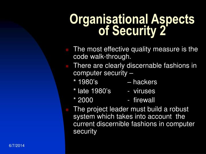 Organisational Aspects of Security 2