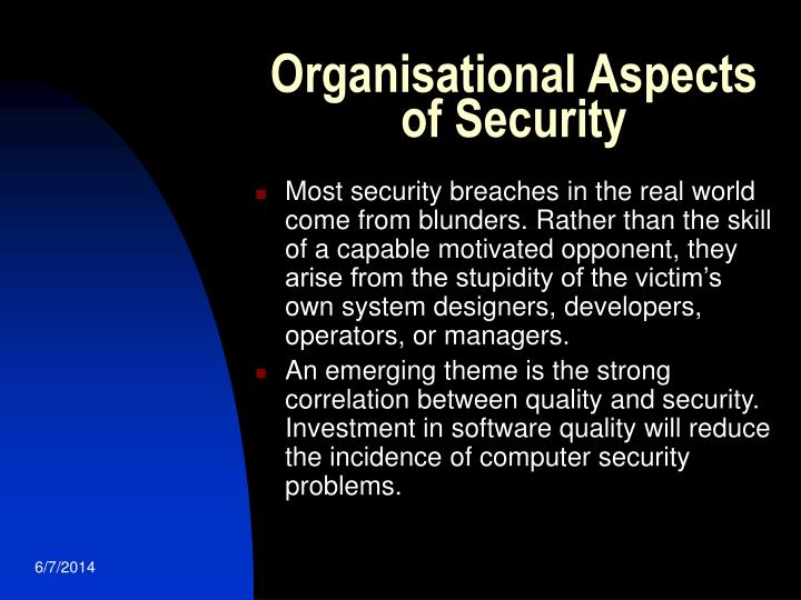 Organisational Aspects of Security