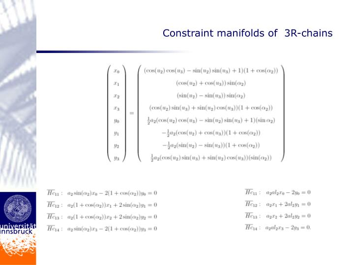 Constraint manifolds of  3R-chains