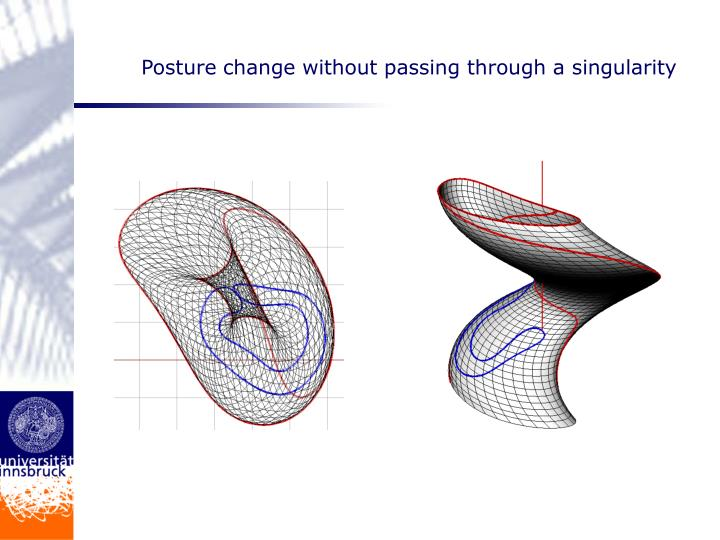 Posture change without passing through a singularity