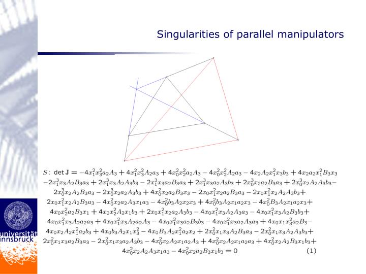 Singularities of parallel manipulators
