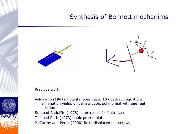 Synthesis of Bennett mechanims