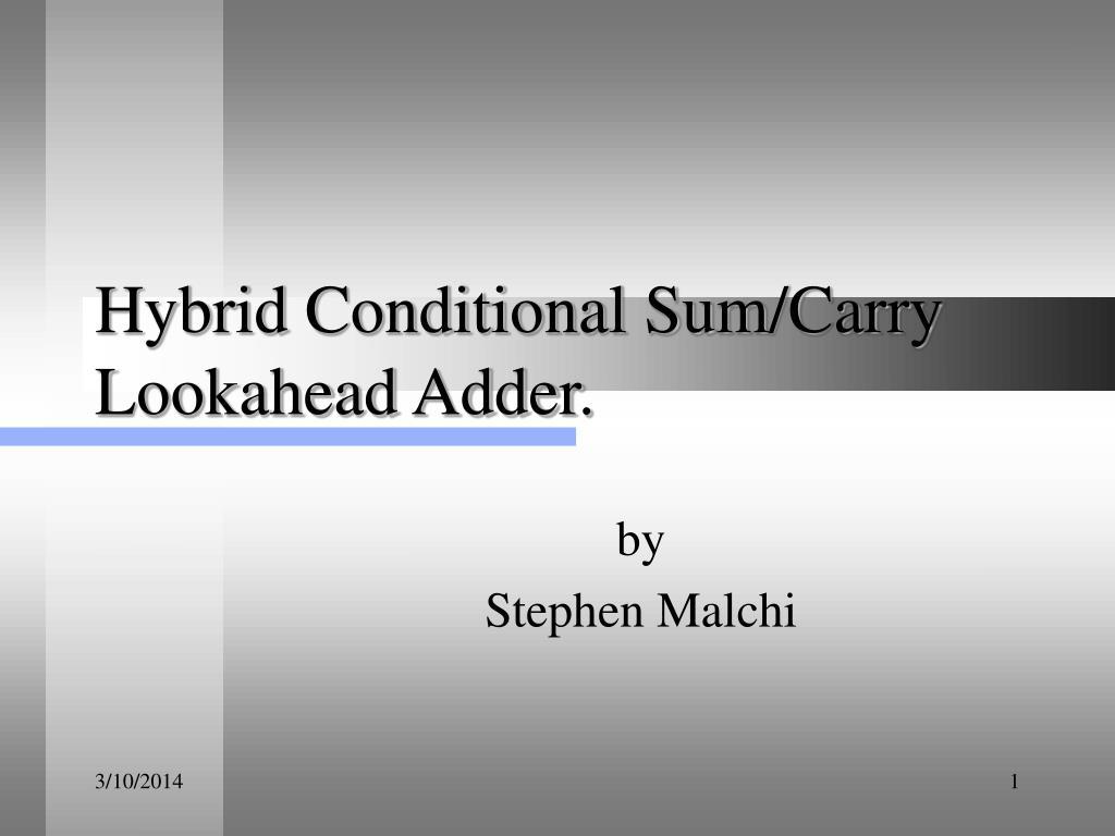 Hybrid Conditional Sum/Carry Lookahead Adder.