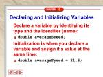declaring and initializing variables
