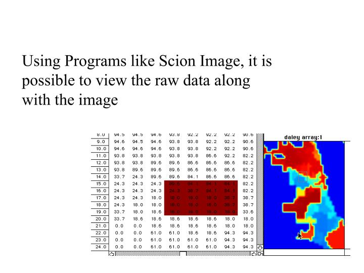 Using Programs like Scion Image, it is possible to view the raw data along with the image