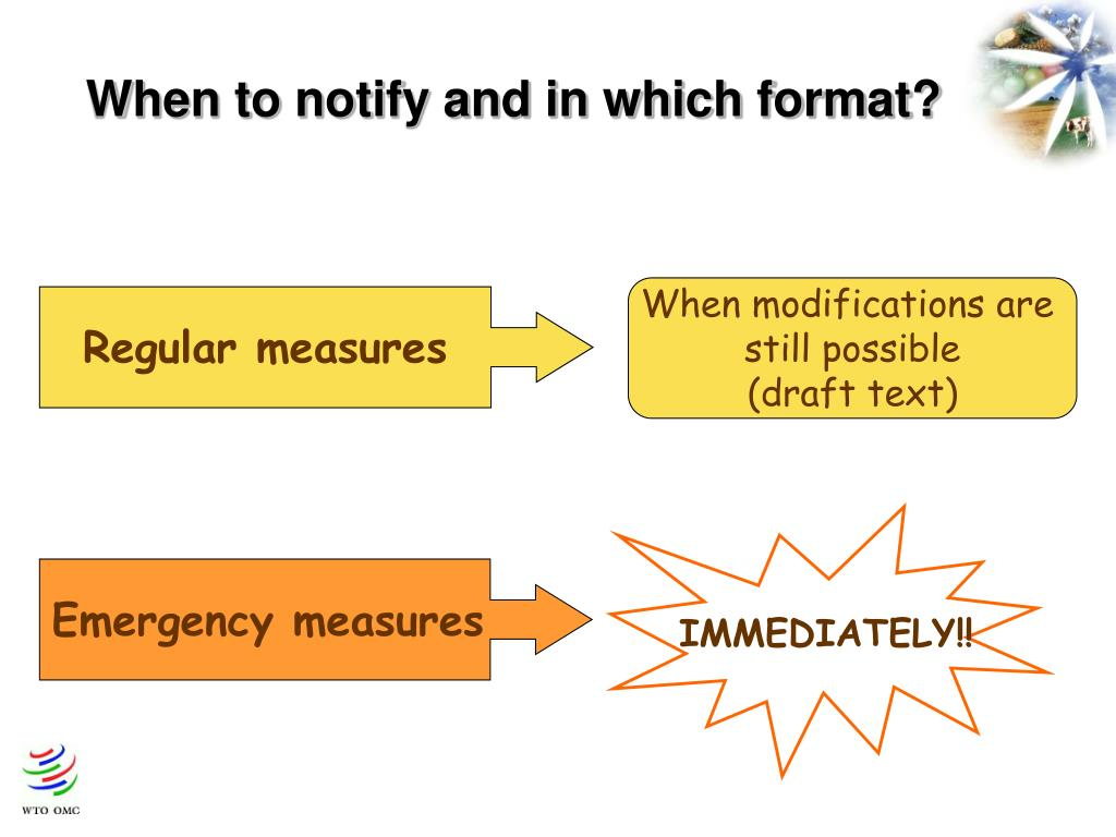 When to notify and in which format?
