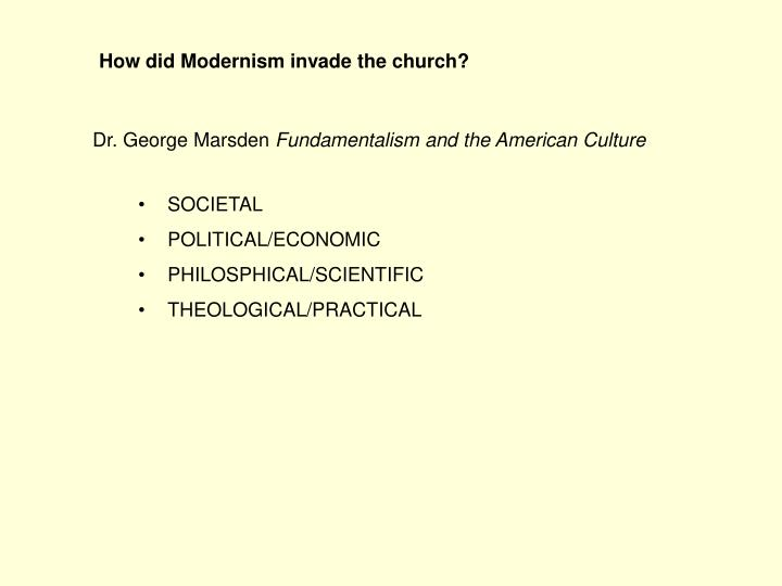 How did Modernism invade the church?