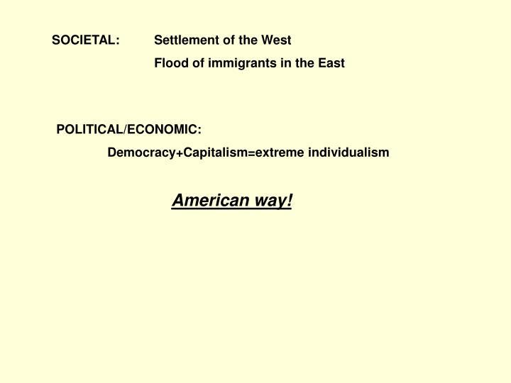 SOCIETAL:Settlement of the West