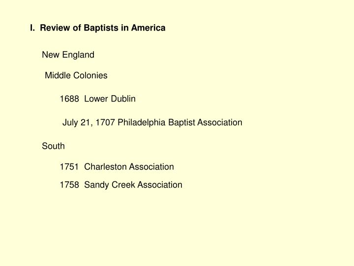 I.  Review of Baptists in America
