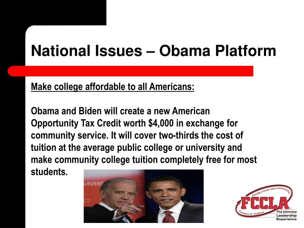National Issues – Obama Platform