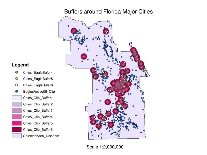 Buffers around Florida Major Cities