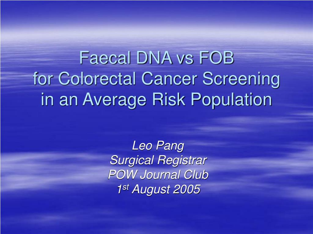 Faecal DNA vs FOB