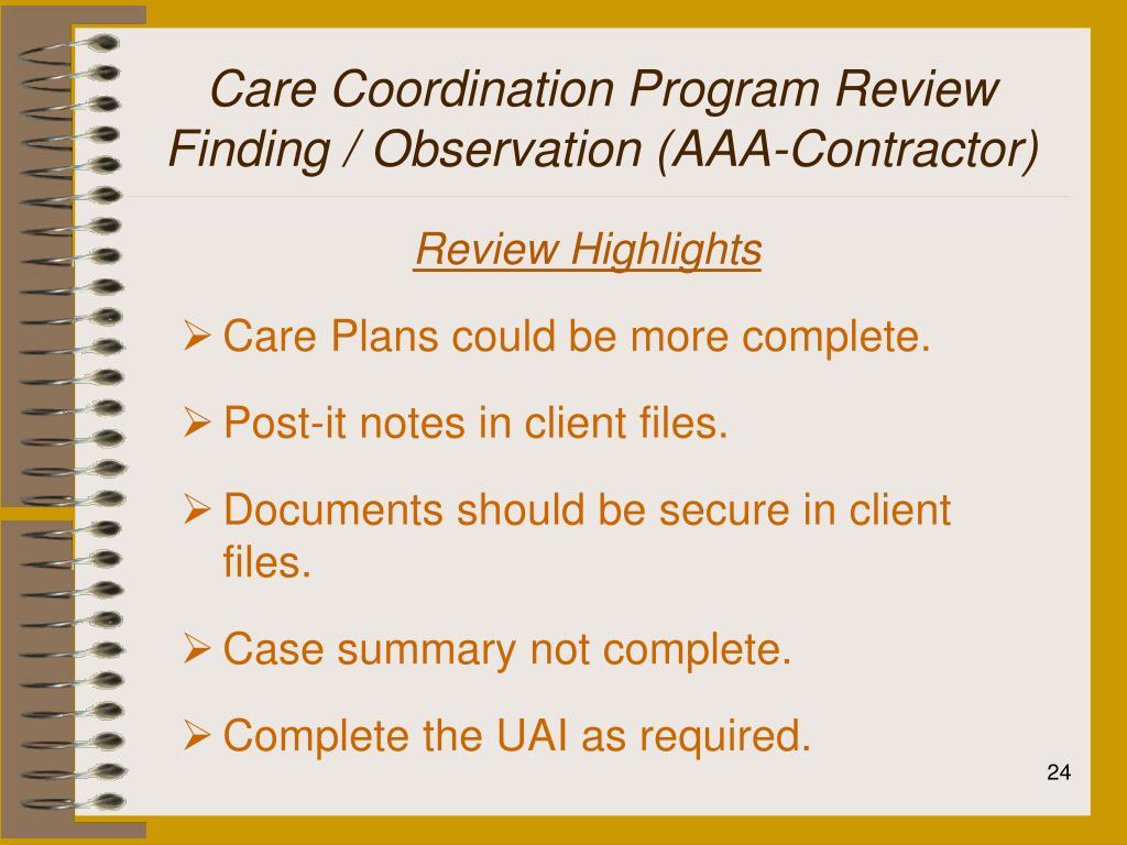 Care Coordination Program Review