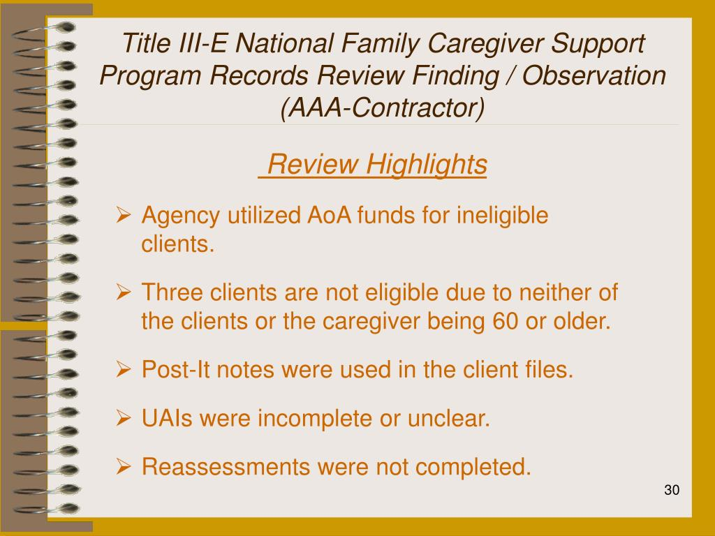 Title III-E National Family Caregiver Support Program Records Review Finding / Observation (AAA-Contractor)