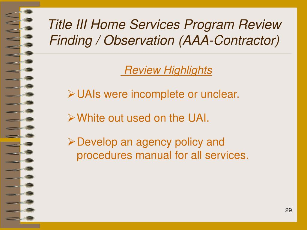 Title III Home Services Program Review
