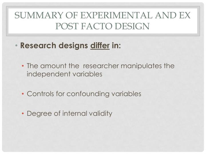 advantages and disadvantages of ex post facto design