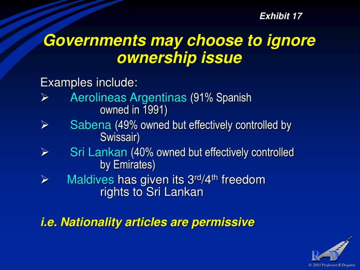 Governments may choose to ignore ownership issue