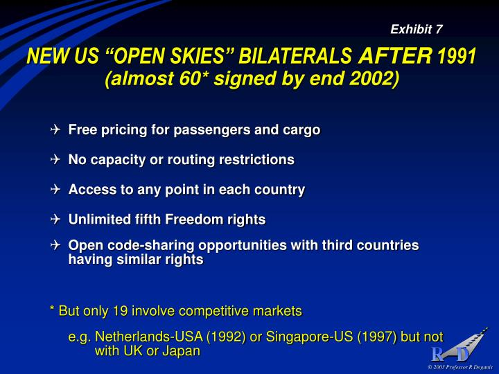 "NEW US ""OPEN SKIES"" BILATERALS"