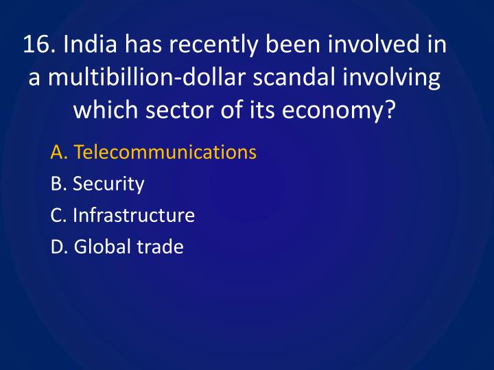 16. India has recently been involved in a multibillion-dollar scandal involving which sector of its economy?