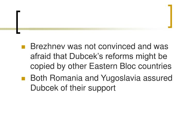 Brezhnev was not convinced and was afraid that Dubcek's reforms might be copied by other Eastern Bloc countries