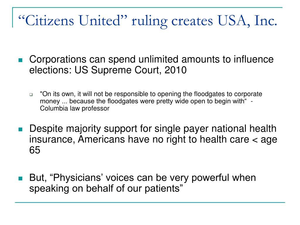 """Citizens United"" ruling creates USA, Inc."