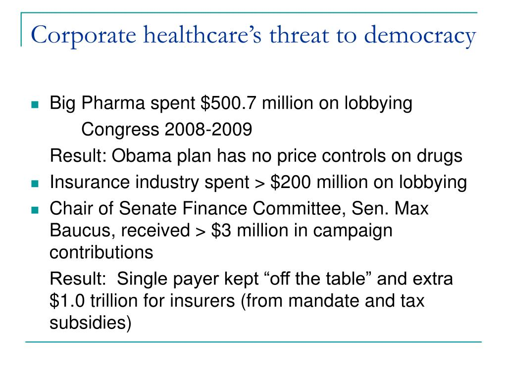 Corporate healthcare's threat to democracy