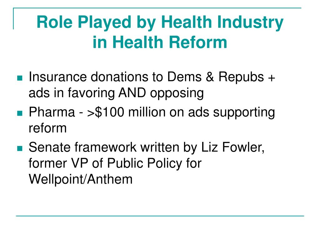 Role Played by Health Industry