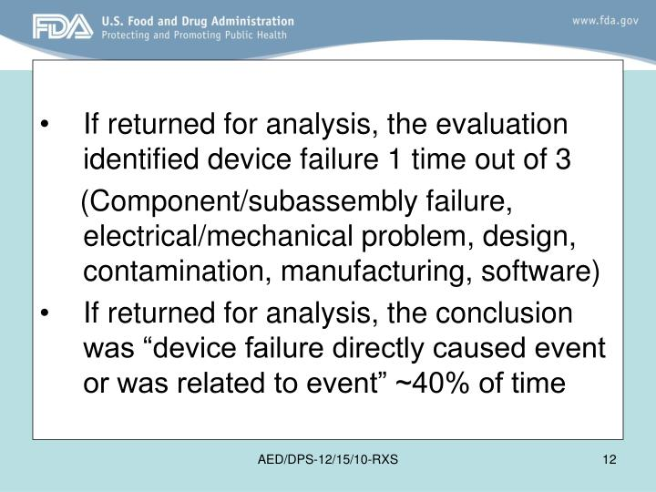 If returned for analysis, the evaluation identified device failure 1 time out of 3