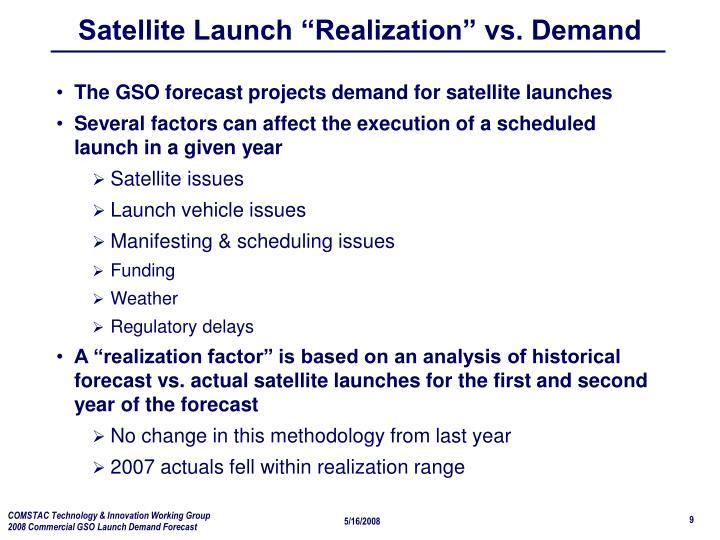 "Satellite Launch ""Realization"" vs. Demand"