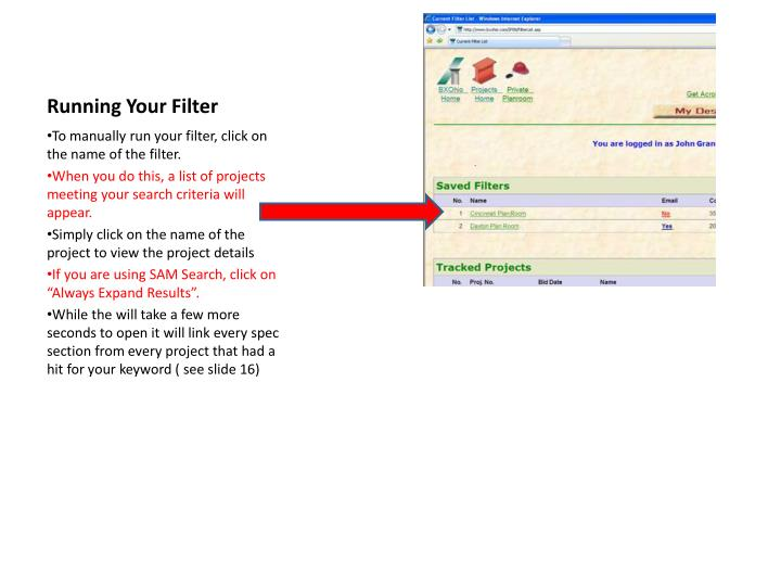 Running Your Filter